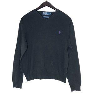 Polo Ralph Lauren black v-neck pullover sweater L